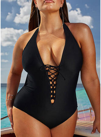 Solid Color Hollow Out Halter Sexy Plus Size One-piece Swimsuits