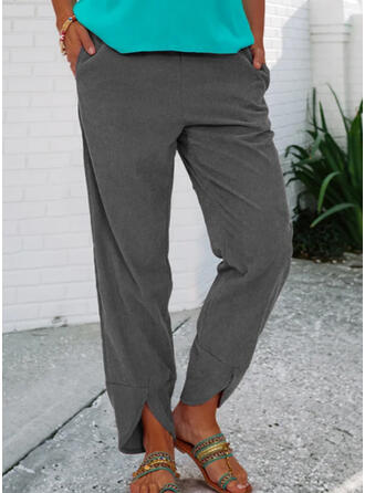 Solid Shirred Casual Vintage Lounge Pants