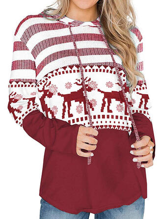 Color Block Animal Print Long Sleeves Christmas Sweatshirt