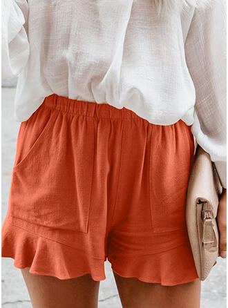 Lace Shirred Plus Size Above Knee Casual Elegant Shorts