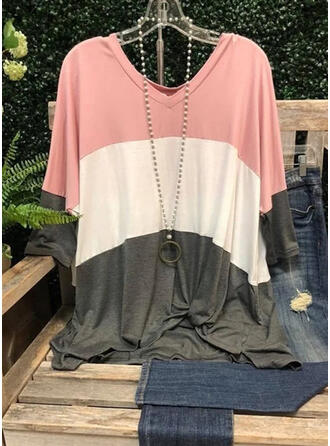 Color Block V-Neck Short Sleeves T-shirts