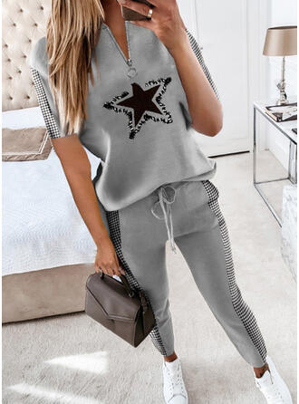 Print Plus Size Drawstring Casual Sporty Suits