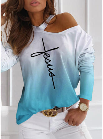 Print Gradient Letter One Shoulder Long Sleeves Casual Blouses