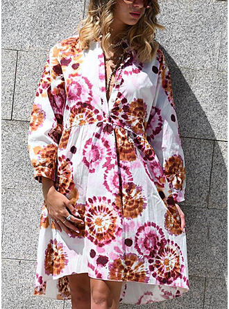 Tie Dye Long Sleeves Shift Knee Length Casual/Vacation Tunic Dresses