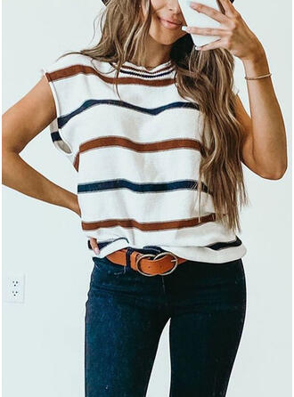 Striped Round Neck Short Sleeves T-shirts