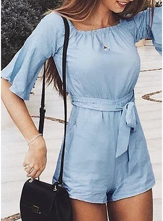 Solid Square Collar 1/2 Sleeves Flare Sleeve Casual Romper