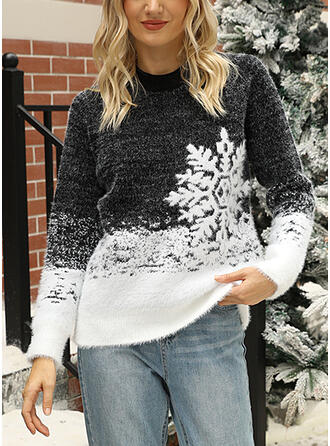 Women's Cotton Blends Print Ugly Christmas Sweater