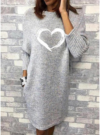 Print Long Sleeves Shift Knee Length Casual Sweater Dresses