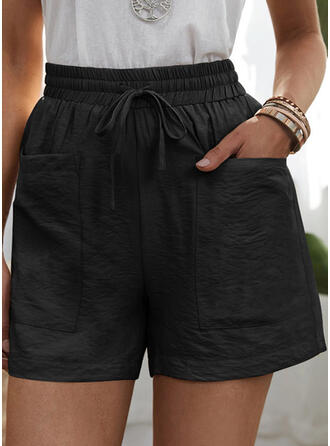 Solid Pockets Casual Solid Shorts