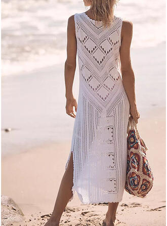 Solid Round Neck Vacation Sporty Party Cover-ups Swimsuits