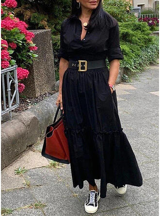 Solid Long Sleeves A-line Shirt Little Black/Casual Maxi Dresses