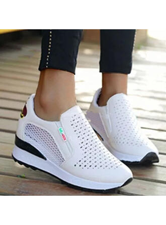 Women's PU Others Flats Round Toe With Hollow-out Splice Color shoes