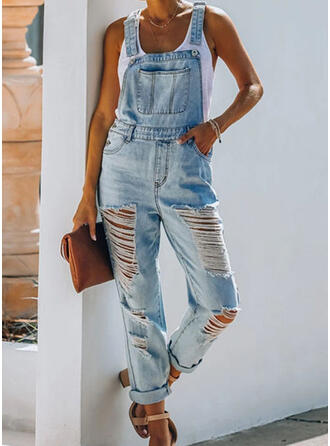 Shirred Ripped Long Casual Tribal Denim & Jeans Jumpsuits & Rompers