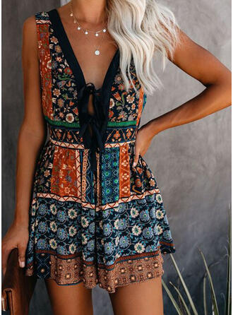 Print/Floral Sleeveless Shift Above Knee Sexy/Casual/Boho/Vacation Tank Dresses