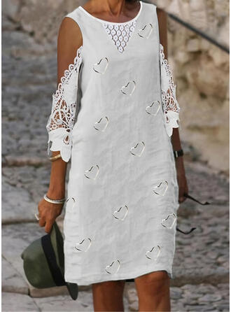 Lace/Print/Heart 3/4 Sleeves Shift Knee Length Casual Tunic Dresses