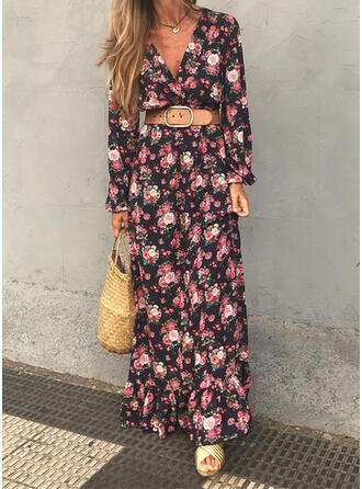 Print/Floral Long Sleeves A-line Skater Casual/Vacation Maxi Dresses