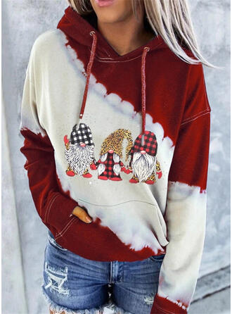 Print Color Block Leopard Long Sleeves Christmas Sweatshirt