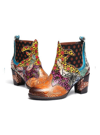 Women's Leatherette Chunky Heel Ankle Boots Round Toe With Floral shoes