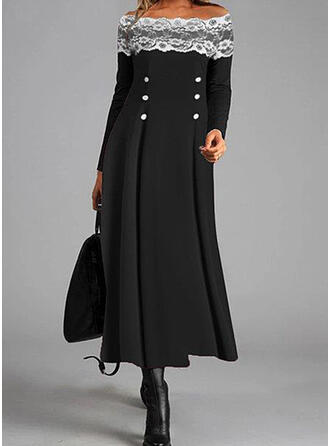 Lace/Solid Long Sleeves A-line Skater Casual Maxi Dresses