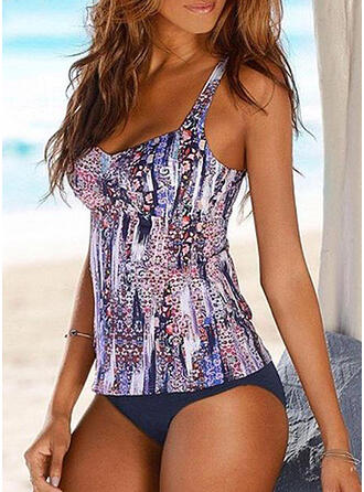 Print Strap Attractive Tankinis Swimsuits