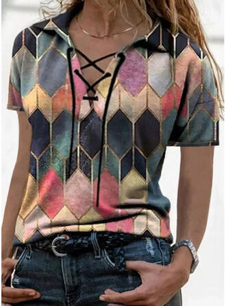 Geometric Print Lace-up Lapel Short Sleeves Casual Blouses