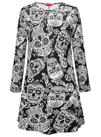 Print/Floral Long Sleeves Sheath Knee Length Party/Halloween Dresses