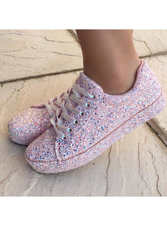 Women's Sparkling Glitter Flat Heel Flats Low Top With Lace-up shoes