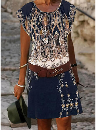 Print/Floral Cap Sleeve Sheath Knee Length Boho Dresses