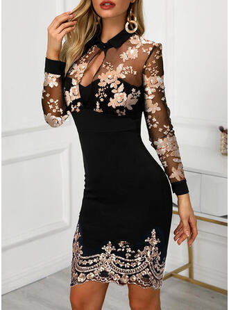 Sequins/Floral Long Sleeves Bodycon Above Knee Elegant Dresses