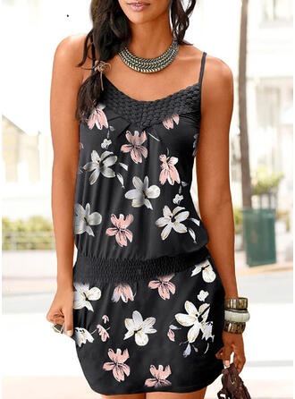 Print/Floral Sleeveless Sheath Above Knee Casual/Vacation Slip Dresses