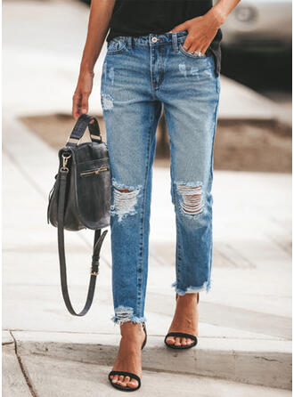 Solid Cotton Long Casual Plus Size Pocket Shirred Ripped Pants Denim & Jeans