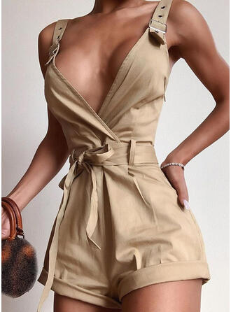 Solid Strap Sleeveless Party Sexy Romper