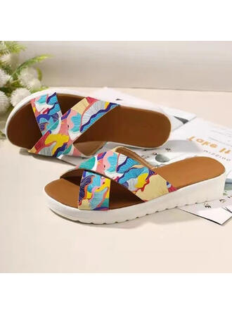 Women's PVC Flat Heel Sandals Platform Peep Toe Slippers With Hollow-out Splice Color shoes
