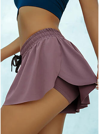 Solid Plus Size Sexy Sporty Shorts