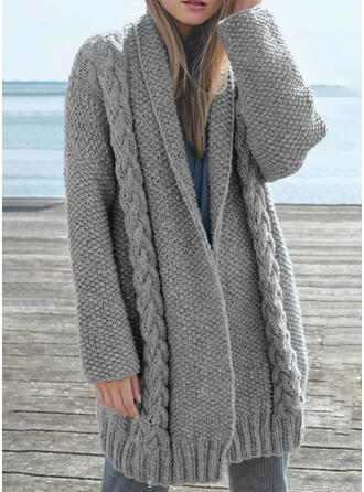 Solid Cable-knit Chunky knit Lapel Casual Cardigan