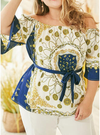 Print Off the Shoulder 3/4 Sleeves Casual Plus Size Blouses