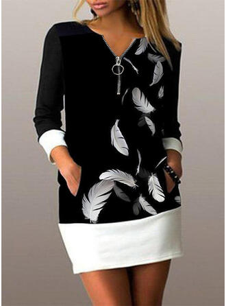 Print Long Sleeves Bodycon Above Knee Casual Dresses