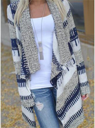 Color Block Casual Long Cardigan
