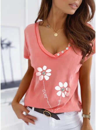 Figure Floral Print V-Neck Short Sleeves T-shirts