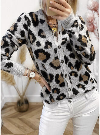 Leopard Round Neck Casual Cardigan