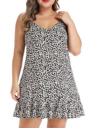 Plus Size Print Sleeveless A-line Above Knee Casual Dress