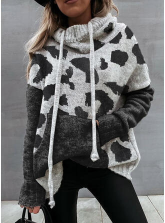 Print Color Block Pocket Hooded Casual Sweaters