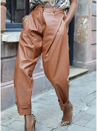 Solid Patchwork Long Casual Leather Vintga Pants