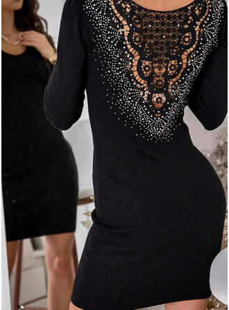 Lace/Solid/Beaded Long Sleeves Bodycon Above Knee Little Black/Party Dresses
