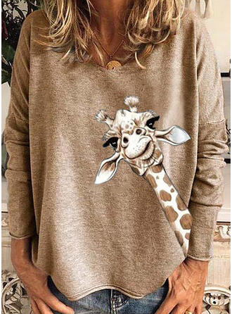 Animal Print Round Neck Long Sleeves T-shirts