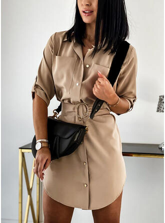 Solid 3/4 Sleeves Sheath Above Knee Casual Shirt Dresses