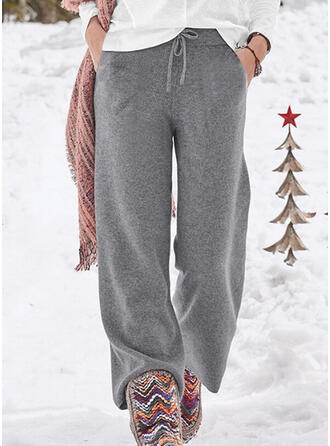 Solid Drawstring Casual Plain Stretchy Lounge Pants