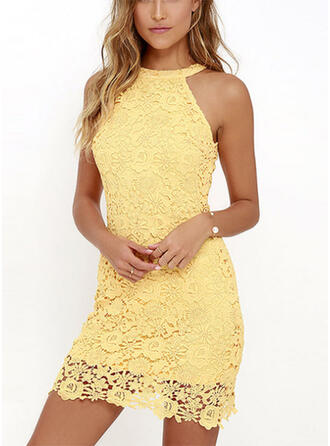 Lace/Solid Sleeveless Sheath Above Knee Little Black/Party Dresses