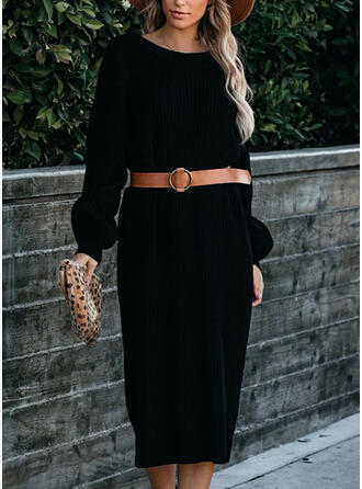 Solid Long Sleeves Sheath Sweater Little Black/Casual Midi Dresses