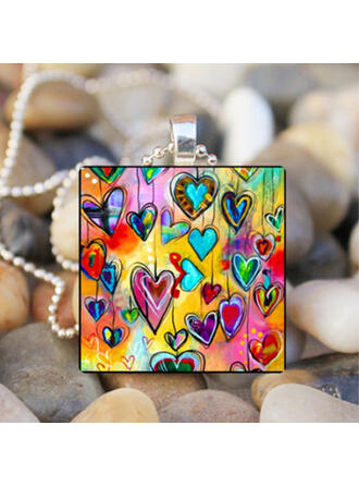 Heart Romantic Valentine's Day Alloy Glass Women's Necklaces